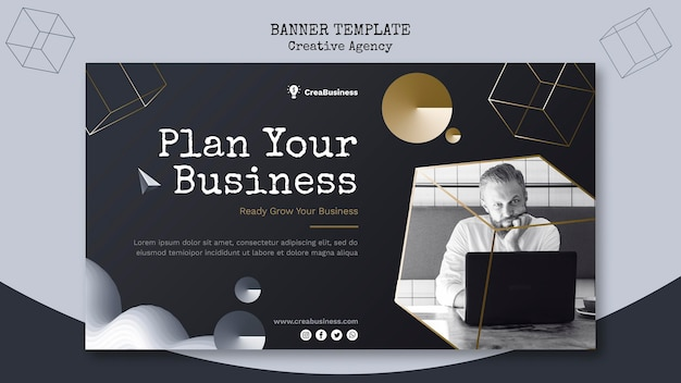 Horizontal banner for business partnering company Free Psd