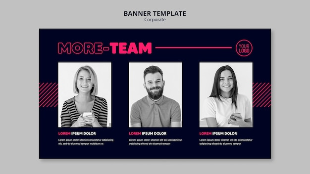 Horizontal banner for business team Free Psd