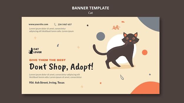 Horizontal banner for cat adoption Free Psd