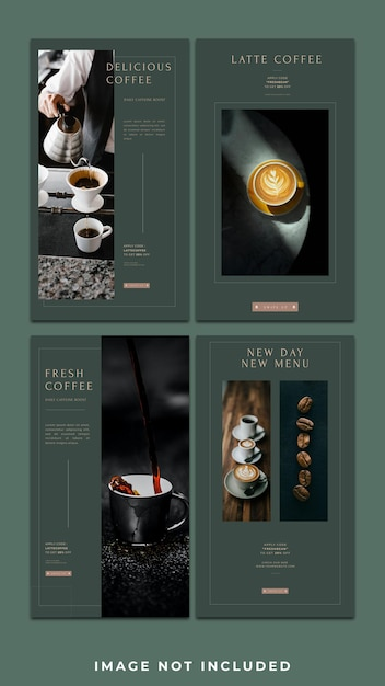 Horizontal banner coffee shop instagram story template pack Premium Psd