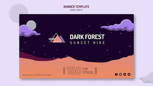 Horizontal banner for dark forest hiking Free Psd