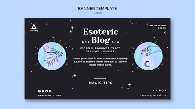 Horizontal banner for esoteric blog Free Psd