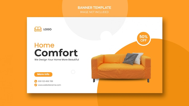 Horizontal banner or facebook cover with minimal design and home furniture discount Free Psd