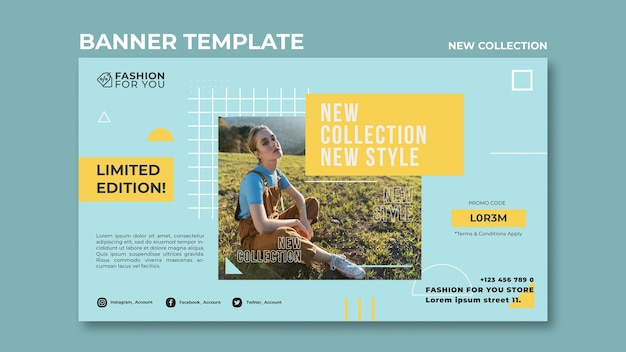 Horizontal banner for fashion collection with woman in nature Free Psd