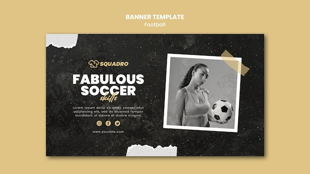Horizontal banner for female football player Free Psd