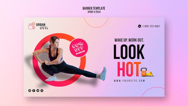 Horizontal banner for fitness and exercise Free Psd