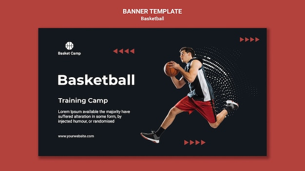 농구 훈련 캠프 가로 배너 프리미엄 PSD 파일