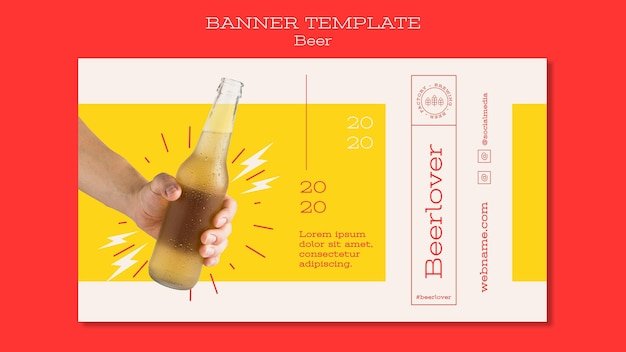 Горизонтальный баннер для любителей пива Бесплатные Psd