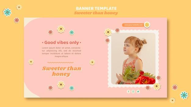 Горизонтальный баннер для детей с цветами Бесплатные Psd