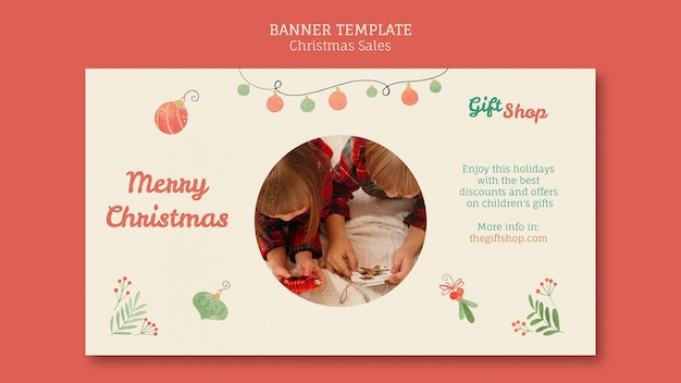 Горизонтальный баннер для рождественской распродажи с детьми Бесплатные Psd
