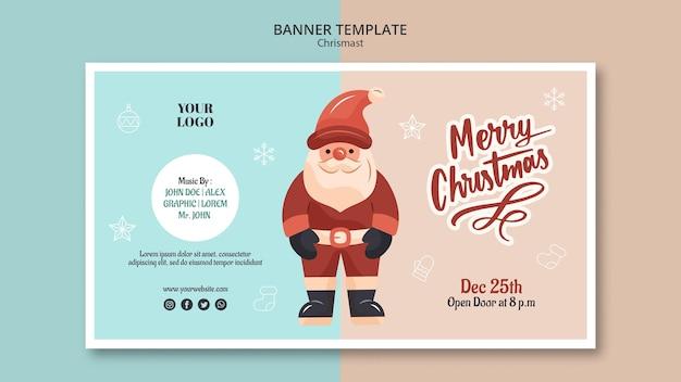 Горизонтальный баннер на рождество с дедом морозом Premium Psd