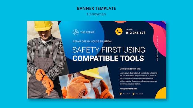 Горизонтальный баннер для компании, предлагающей услуги разнорабочего Бесплатные Psd