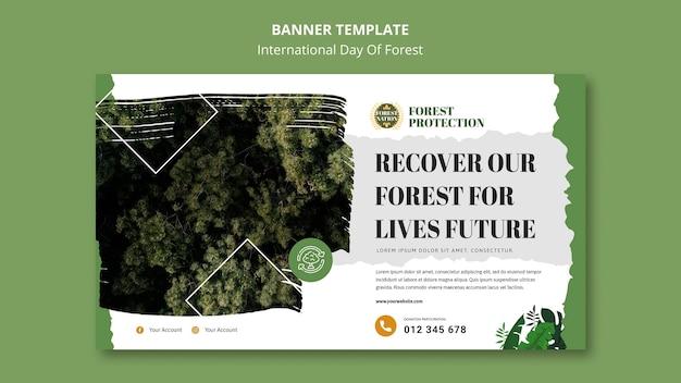 Горизонтальный баннер на день леса с природой Бесплатные Psd