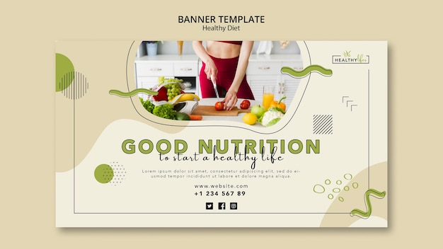 健康的な栄養のための水平バナー 無料 Psd