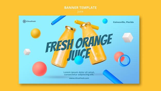 유리 병에 상쾌한 오렌지 주스를위한 가로 배너 무료 PSD 파일