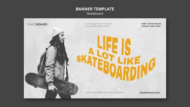 여자와 스케이트 보드에 대 한 가로 배너 무료 PSD 파일