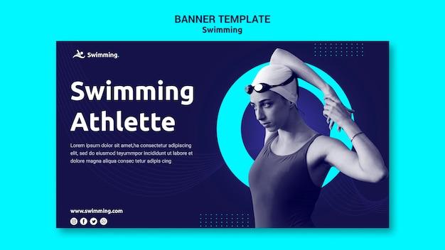 여성 수영 선수와 함께 수영을위한 가로 배너 무료 PSD 파일