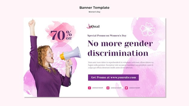 여성의 날 축하 가로 배너 무료 PSD 파일