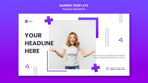 Horizontal banner for free theme with dynamic geometrics Free Psd