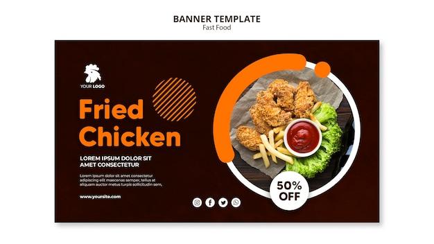 Horizontal banner for fried chicken restaurant Premium Psd