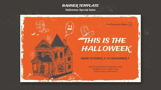 Horizontal banner for halloweek Free Psd