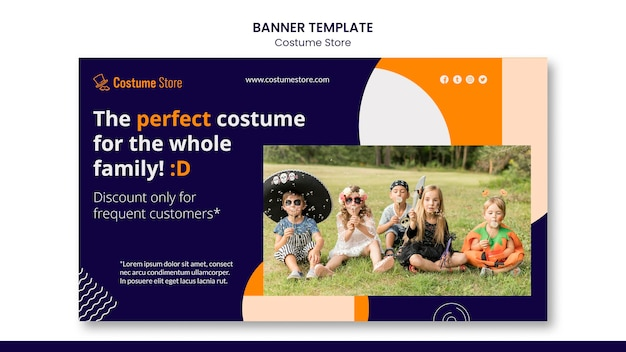 Horizontal banner for halloween costumes Free Psd