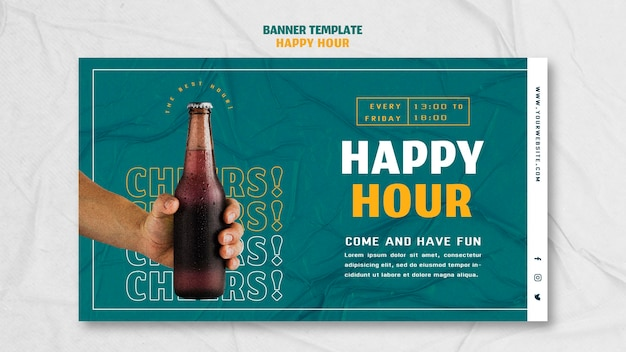 Horizontal banner for happy hour Free Psd