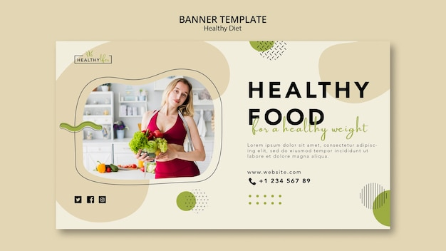 Horizontal banner for healthy nutrition Free Psd