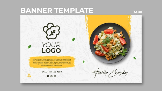 Horizontal banner for healthy salad lunch Free Psd