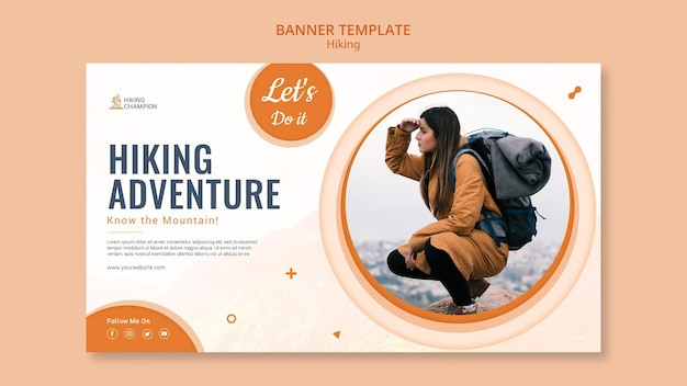 Horizontal banner for hiking in nature Free Psd