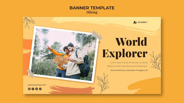 Horizontal banner for hiking Free Psd