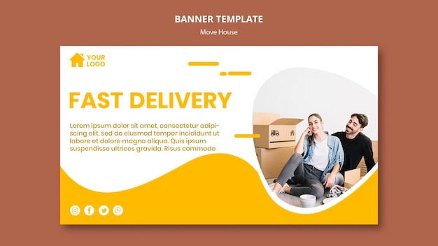 Horizontal banner for house moving company Free Psd