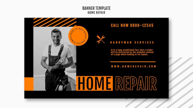 Horizontal banner for house repair company Free Psd