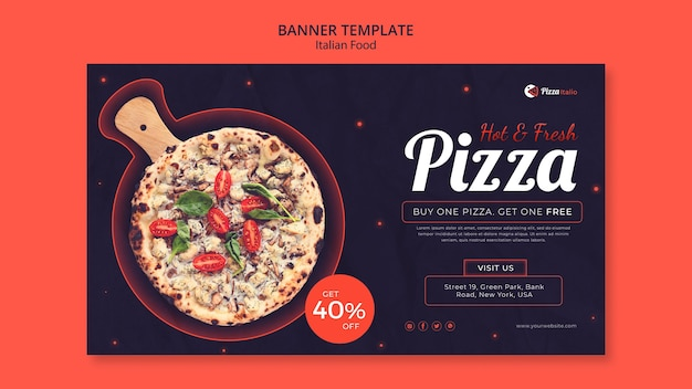 Horizontal banner for italian food restaurant Free Psd
