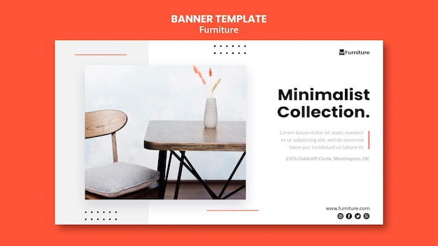 Horizontal banner for minimalist furniture designs Free Psd