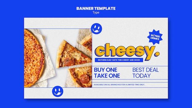 Banner orizzontale per il nuovo sapore di pizza di formaggio Psd Gratuite