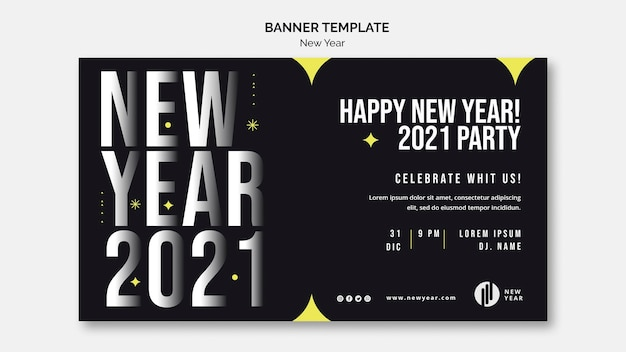 Horizontal banner for new year party Free Psd