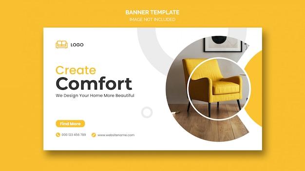 최소한의 디자인 및 가정용 가구 할인이 적용된 가로 배너 또는 페이스 북 커버 프리미엄 PSD 파일