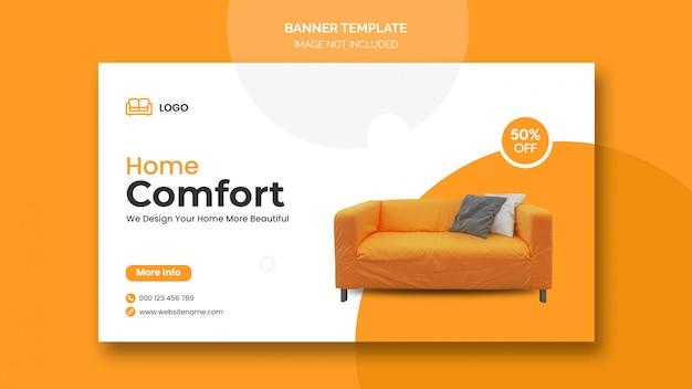 최소한의 디자인 및 가정용 가구 할인이 적용된 가로 배너 또는 페이스 북 커버 무료 PSD 파일