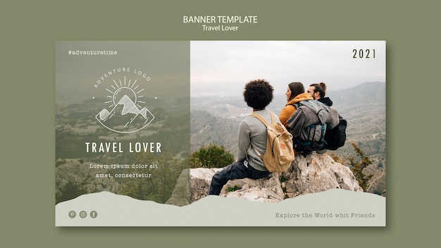 Horizontal banner for outdoors traveling Free Psd