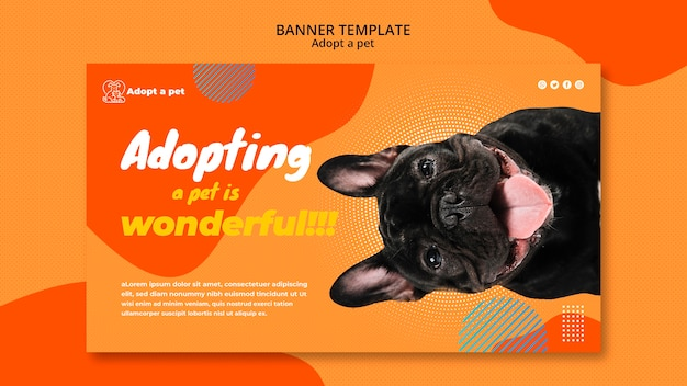 Horizontal banner for pet adoption from shelter Free Psd