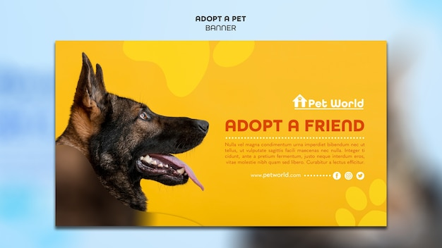 Horizontal banner for pet adoption with dog Free Psd