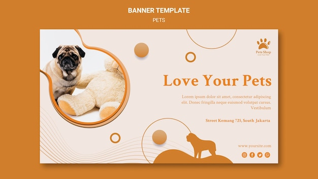 Horizontal banner for pet shop with dog Free Psd