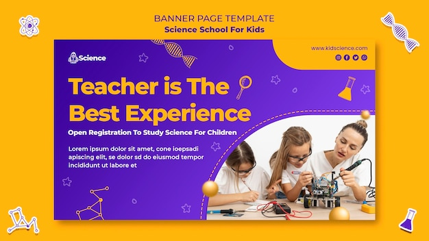 Horizontal banner for science school for children Free Psd