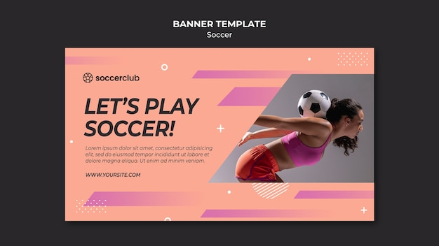 Horizontal banner for soccer player Free Psd