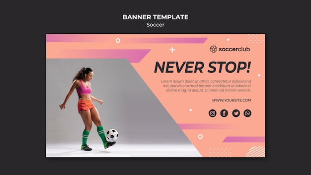 Horizontal banner for soccer Free Psd