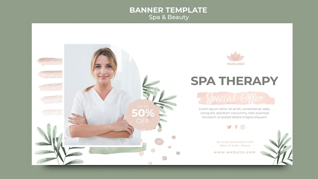 Horizontal banner for spa and beauty Free Psd