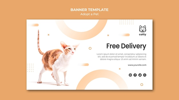 Horizontal banner template for adopting pet with cat Free Psd