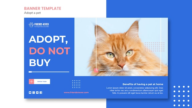 Horizontal banner template for adopting a pet with cat Free Psd