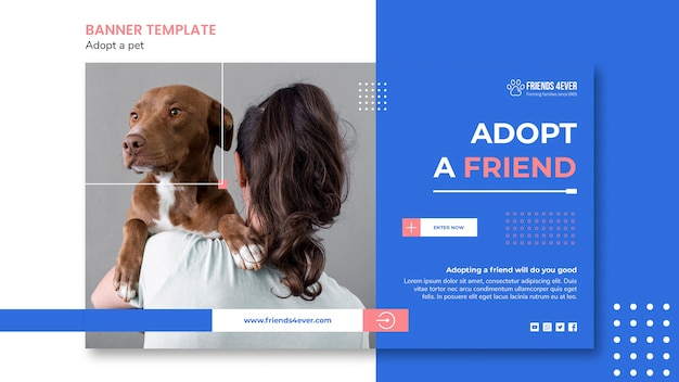 Horizontal banner template for adopting a pet with dog Free Psd